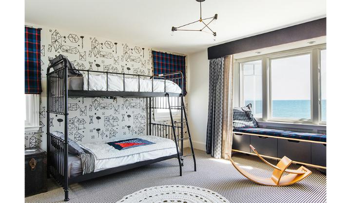 Gray Boys' Room Idea with geometric Wallpaper