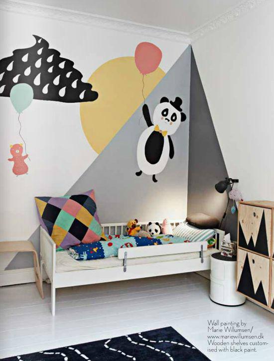 Gray Boys' Room Idea with Panda painted wall