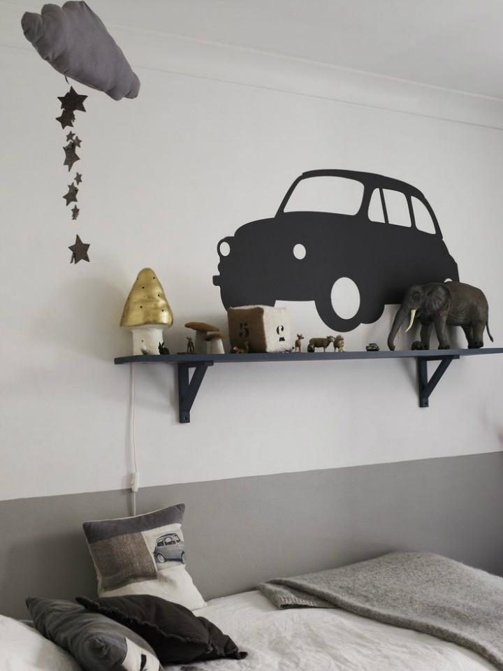 Gray Boys' Room Idea with cars