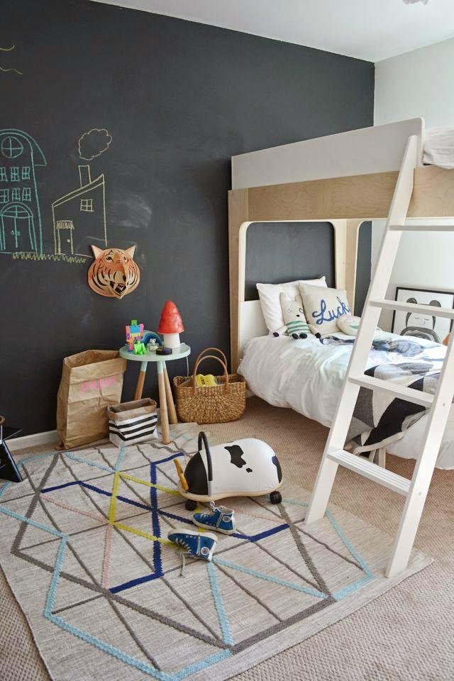 Gray Boys' Room Idea Blackboard Wall