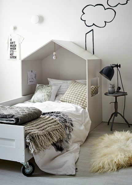 Gray Boys' Room Idea with a Painted House Wall