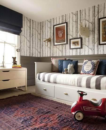 Gray Boys' Room Idea with Sticks Wallpaper