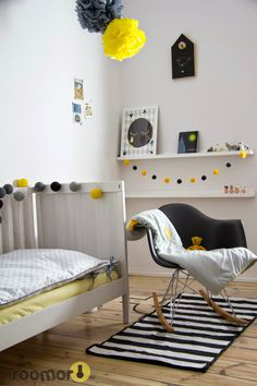 Gray Boys' Room Idea with yellow details