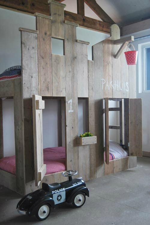 two floor bed with wood material