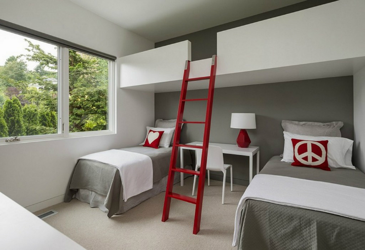 red ladder in a bedroom
