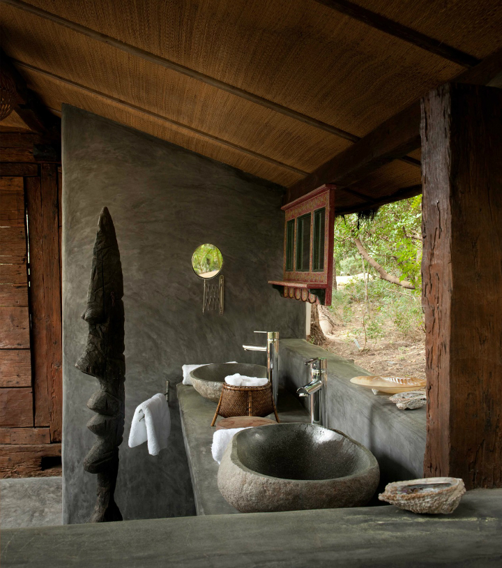 gray and wood tropical style bathroom design