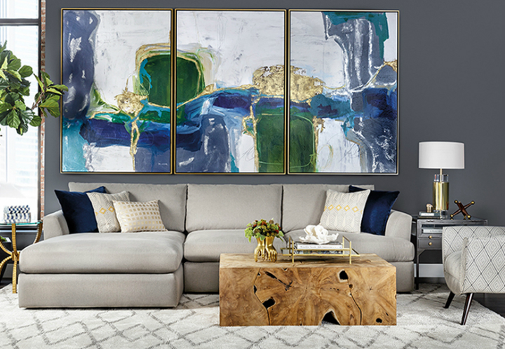 High Fashion Home Gray Blue Green Living Room