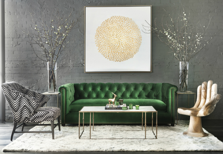 High Fashion Home Green Gray Gold Living Room