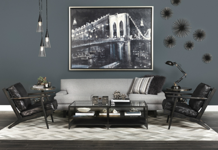 high fashion home dark gray black living room