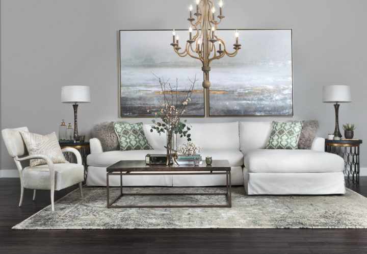 High Fashion Home Gray Wall White Soga Gold Chandelier Living Room