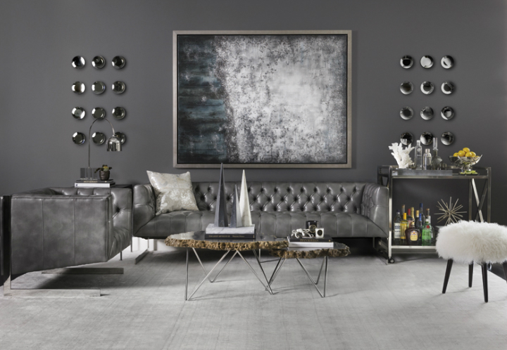 ... Dark Gray Modern Living Room ...