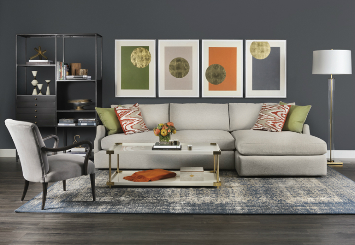 ... High Fashion Home Gray Orange Green Living Room Idea ...