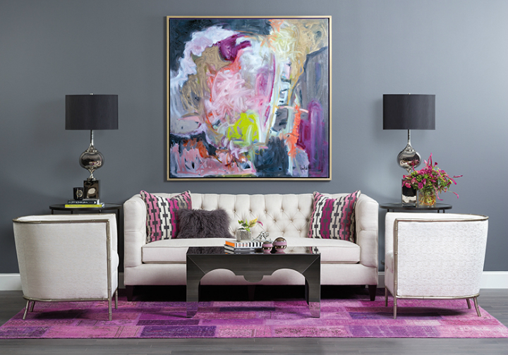high fashion home gray wall white sofa purple rug living room