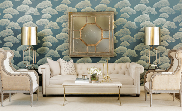 high fashion home blue gray wallpaper living room idea