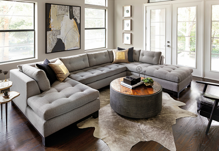 High Fashion Home Contemporary Gray Living Room ...