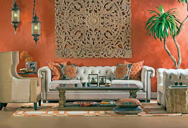high fashion home orange wall living room idea 49