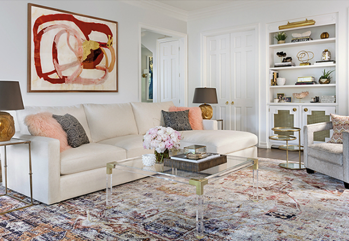 high fashion home cream and pink gray living room
