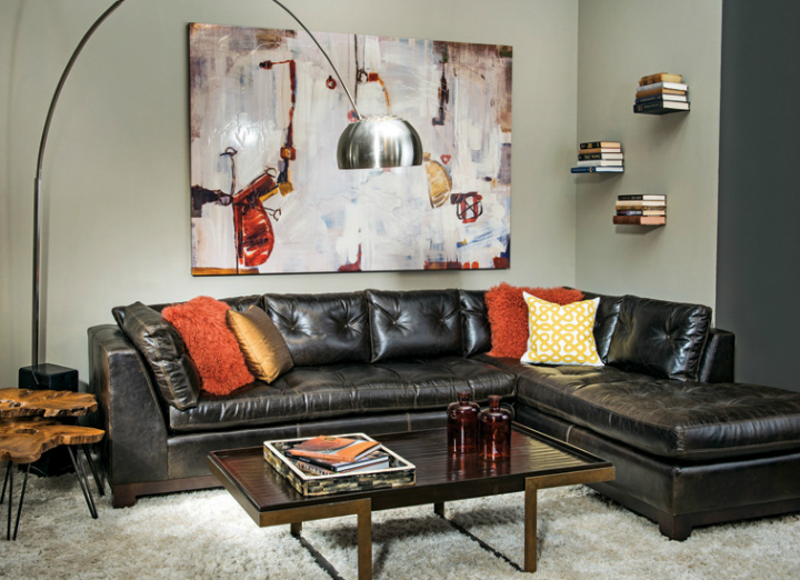 high fashion home gray wall living room idea 61