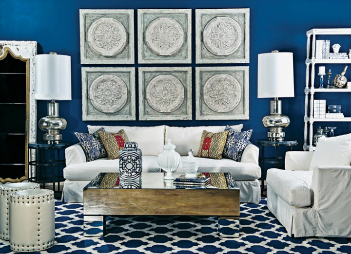 high fashion home blue wall living room idea 63