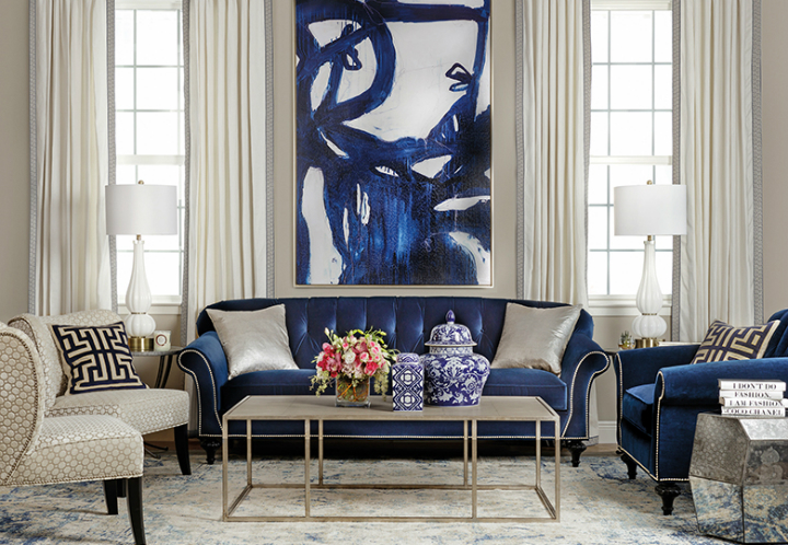 high fashion home blue living room