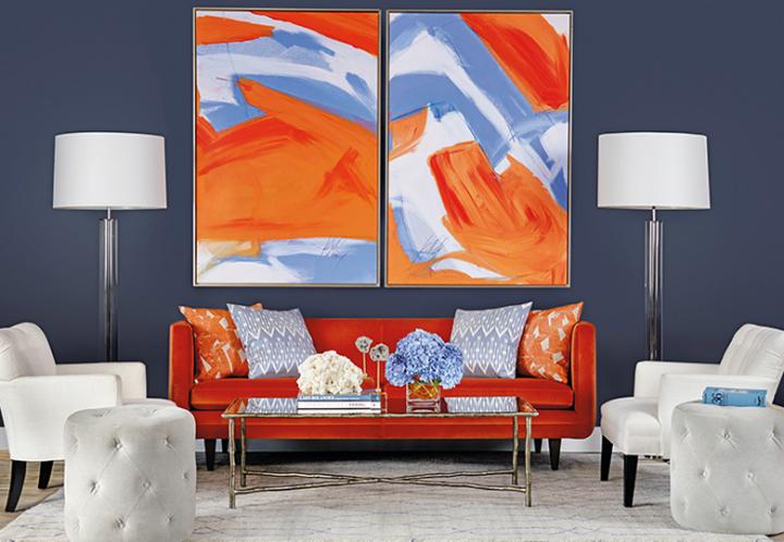 High Fashion Home Tangerine Orange Blue Living Room