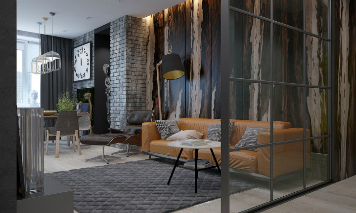 Dramatic interiors with dark walls decoholic A sleek apartment the divides rooms creatively