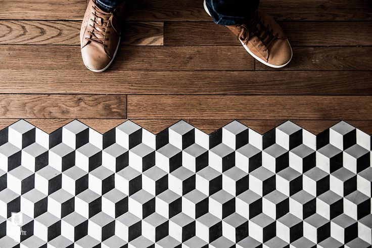Hardwood Transition ith cement tiles