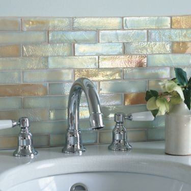 bathroom tiles Iridescent Glass Mosaic - Sandstone Fusion - hand finished