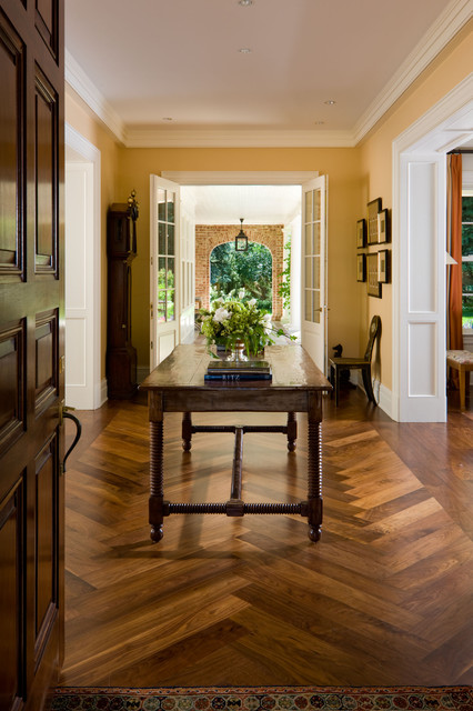 custom site finished black walnut floor in herringbone pattern