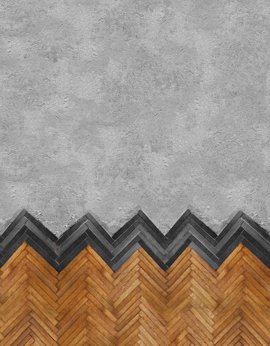 combination of both concrete & herringbone wood installation