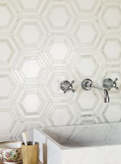 High Society Marble Rockefeller bathroom tile