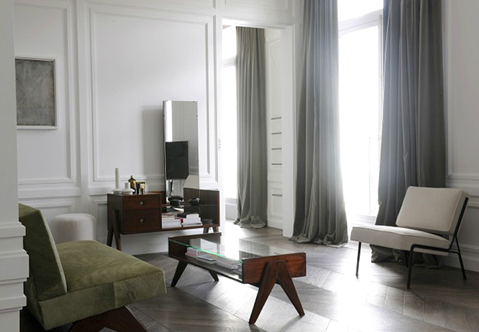 grey curtains and white walls