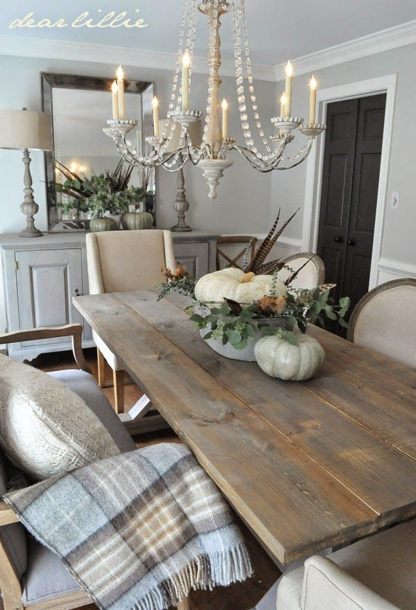 12 rustic dining room ideas decoholic for Modern dining room table decorating ideas