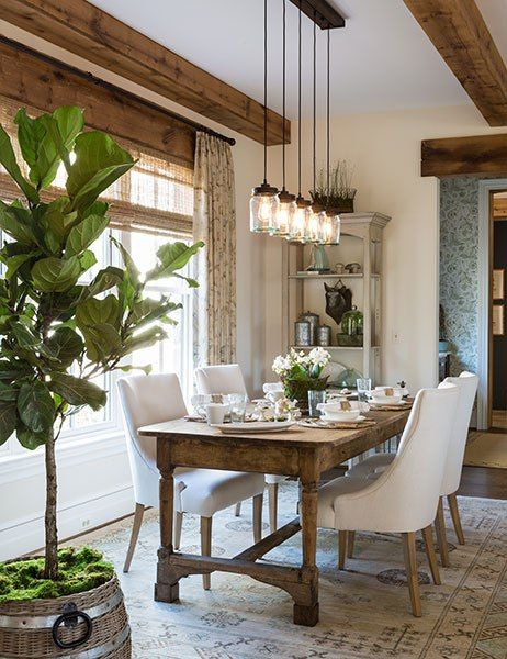 dining room with special lamps