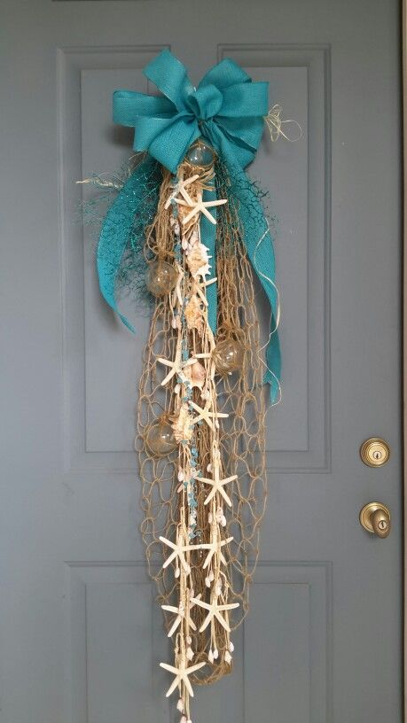 coastal Christmas front door decor