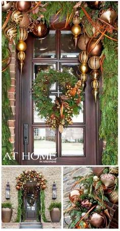 glabour elegant gold Christmas front door decor