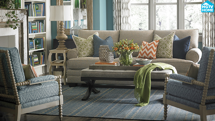 tangerine and teal Real Living Room Idea