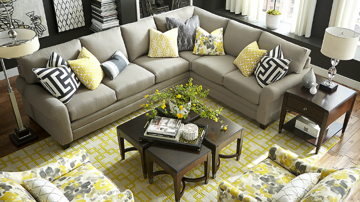 citrus yellow gray black and white Real Living Room Idea
