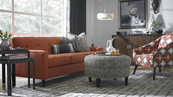 tangerine charcoal geometric Real Living Room Idea