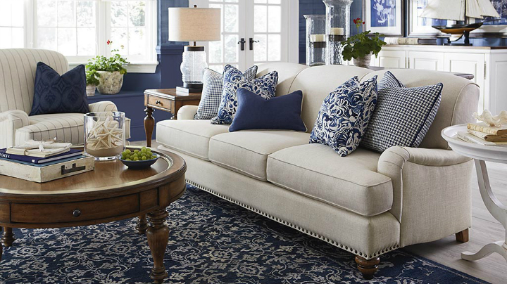 marine indigo blue and white Real Living Room Idea