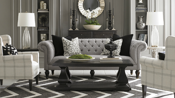 gray linen Real Living Room Idea