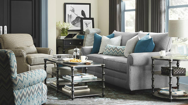 gray and teal Real Living Room Idea