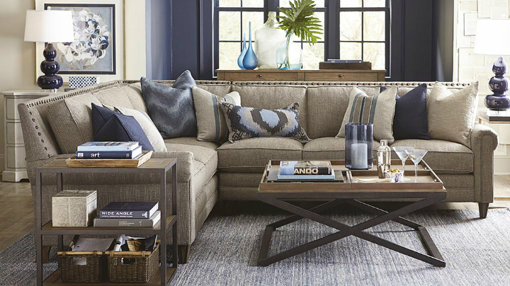 beige and indigo Real Living Room Idea