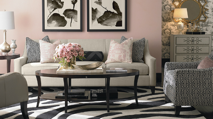 pink blush black and white Real Living Room Idea