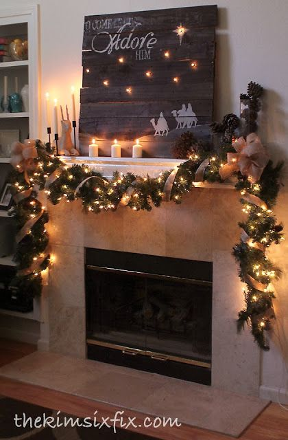Christmas Mantel with rustic home decor