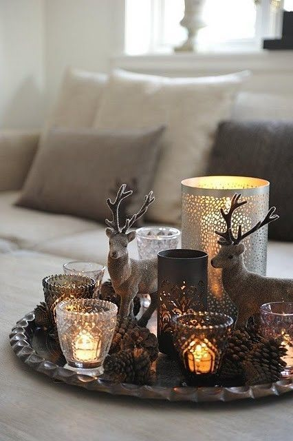 Scandinavian Christmas coffee table styling