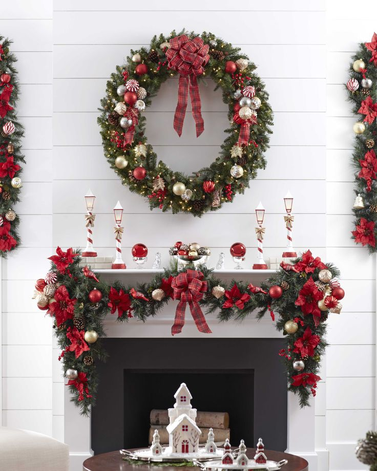 Traditional Red Christmas Mantel