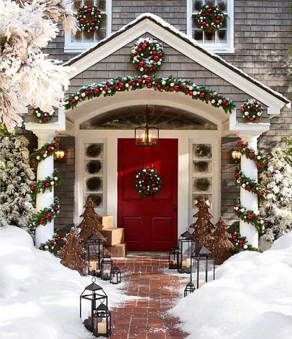 Traditional Red Christmas Front Door