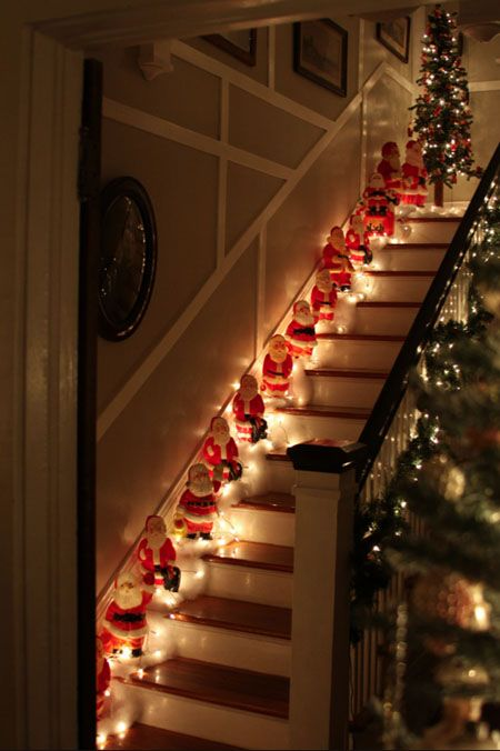 Stairs with Christmas decorating vintage style