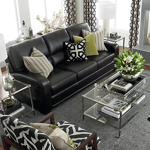Perfect Casual And Comfortable Iving Room Decoratin Ideas With Black Leather Sofa